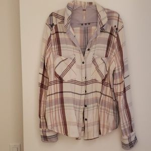 Free People Plaid Button up